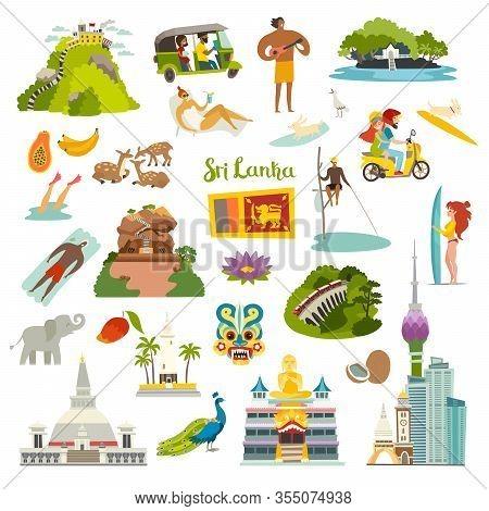 Sri Lanka landmarks vector illustration. Ceylon touristic and historical places.Sri Lanka island art icon collection. Colombo skyline,Sigiria and Nine arches bridge. Cartoon flat set isolated on white