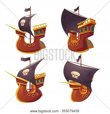 Pirate Ship Set Isolated On White Background. Wooden Boat With Black Sails, Cannon Holes And Sailyar