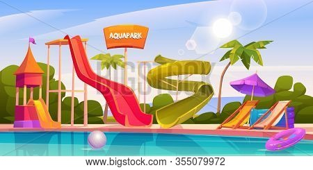 Aqua Park With Water Slides, Swimming Pool, Palms And Lounger. Vector Cartoon Illustration Of Resort
