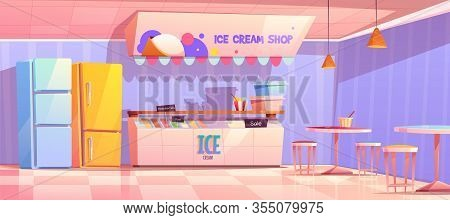 Ice Cream Shop Interior With Counter, Fridge And Tables. Vector Cartoon Illustration Of Cafe With Ic