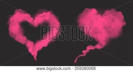 Pink Smoke In Heart Shape. Love Symbol From Magic Dust Or Powder. Vector Realistic Mockup Of Flow Mi