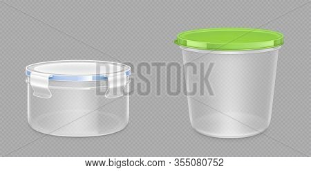 Round Plastic Food Containers With Clipping Path And Latch Lock Lids. Storage For Frozen Products, L