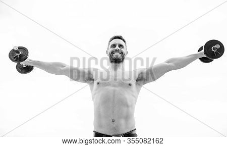 Dumbbell Exercise. Strong Biceps And Triceps. Gym Workout. Workout Fitness Sport. Workout Concept. H