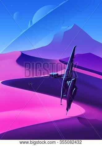 Spaceships Flying Over Desert