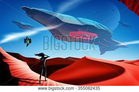 Spaceship Fleet Flying Over Desert
