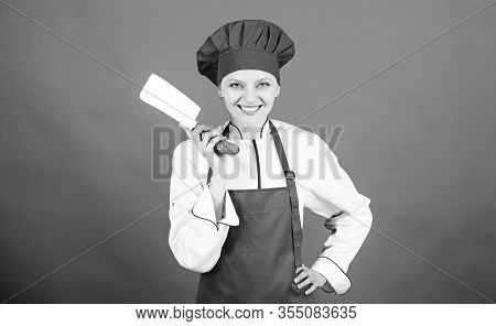 Dangerous Lady. Stainless Steel. Be Careful While Cut. Woman Chef Hold Sharp Knife. Chop Food Like P