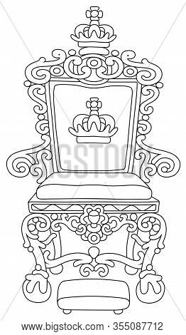 Golden Throne Of An Emperor Or A King Ruling Over A Fairy Kingdom, A Symbol Of Autocratic Power, Bla