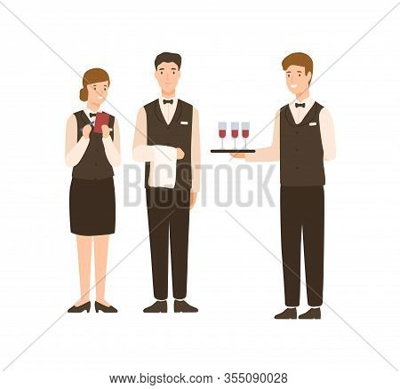 Positive Cartoon People Hotel Staff Standing Isolated On White Background. Smiling Man And Woman Wai