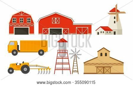 Farming And Agricultural Stuff With Barn And Industrial Machinery For Harvesting Vector Set
