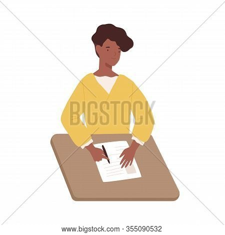 Happy Black Woman Write Paper Document Sitting On Table Vector Graphic Illustration. Positive Dark S