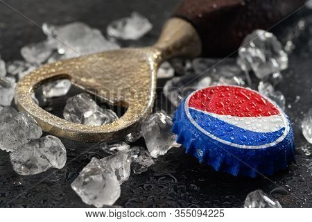 Koszalin, Poland - March 11, 2020: Cool Pepsi Drink With Ice . Pepsi Is Popular Carbonated Soft Drin