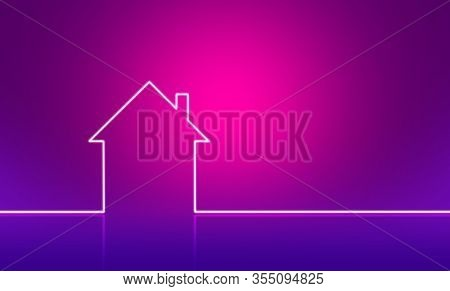 Outline of house on pink purple background