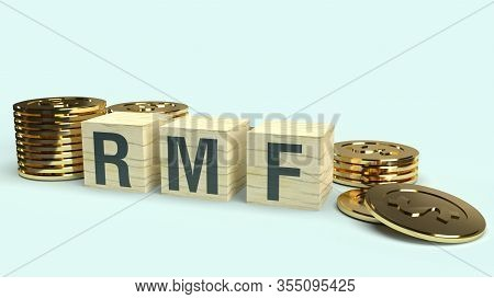 Rmf Text On Wooden Cube And Coins 3D Rendering  For Business Content..