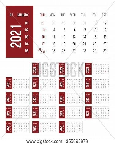 Calendar For 2021 Year Vector Illustration. Basic Grid Colorful Design. Organizer Template In Red, W