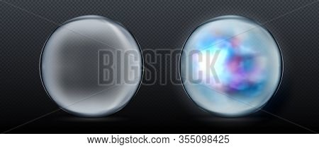 Magical Crystal Orbs. Glowing Magic Ball. Vector Illustration