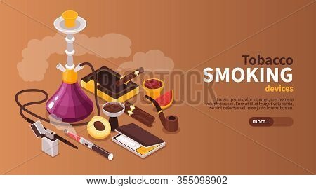 Isometric Hookah Tobakko Smoke Horizontal Banner With Editable Text Button And Images Of Products Co