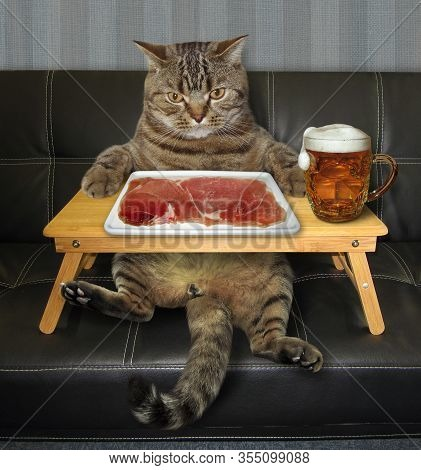 The Beige Cat Is Eating A Slice Of Meat Which Is On A Square Plate And Drinking Beer On A Black Leat