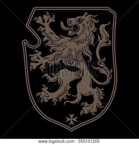 Vintage Knight Heraldic Royal Emblem. A Medieval Heraldic Coat Of Arms, Heraldic Lion, Heraldic Embl