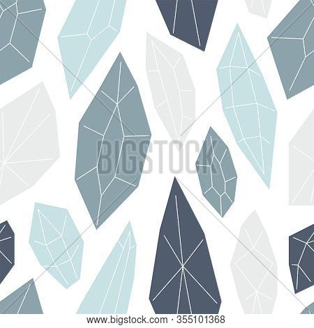 Seamless Pattern With Diamonds And Crystals In Trendy Minimal Flat Style, Neutral Colors, Witch Magi