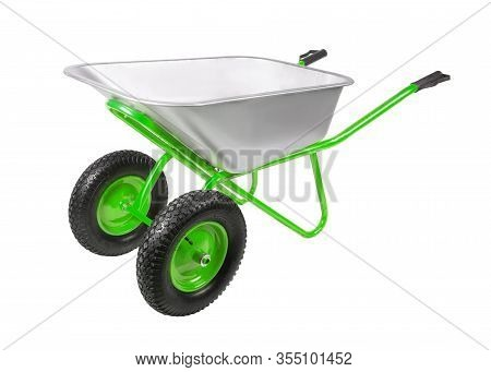 Empty Construction Two-wheel Wheelbarrow Isolated On White Background