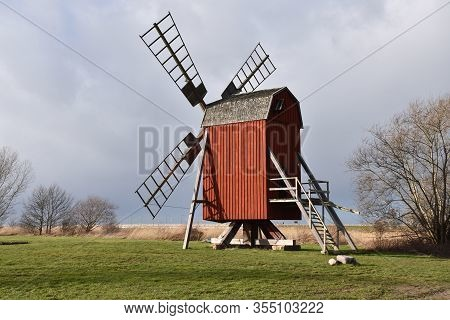 Traditional Old Wooden Windmill - Symbol For The Island Oland In Sweden
