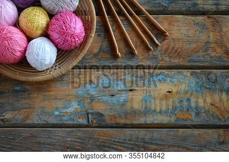 The Equipment For Knitting And Crochet Hook, Colorful Rainbow Cotton Yarn, Ball Of Threads, Wool. Ha