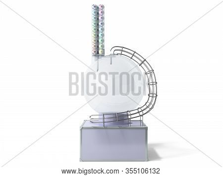 Lottery Machine With Lottery Balls Inside Lotto Bingo Game Luck Concept 3d Illustration On White