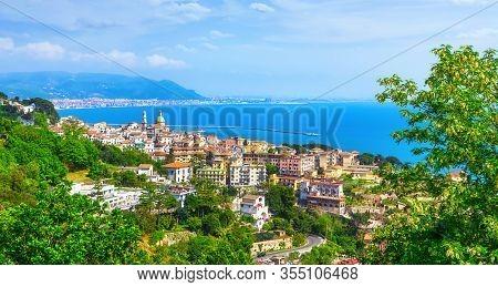 Vietri Sul Mare And Salerno Town In Amalfi Coast, Panoramic View. Campania Italy, Europe
