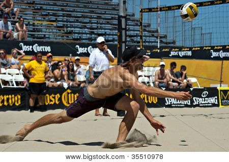 HERMOSA BEACH, CA - JULY 21: Stein Metzger  competes in the Jose Cuervo Pro Beach Volleyball tournament in Hermosa Beach, CA on July 21, 2012.