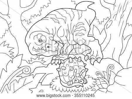 Cartoon Carnivorous Dinosaur Tyrannosaurus, Went Hunting, Funny Illustration