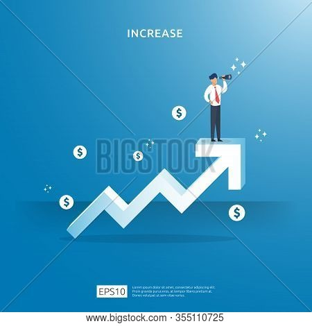 Growth Up Arrow Illustration Concept For Income Salary Rate Increase With People Character. Business