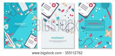 Set Medicine vector illustration. Pharmacy background, pharmacy desing, pharmacy templates. Medicine, pharmacy, hospital set of drugs with labels. Medication, pharmaceutics concept. Different medical pills and bottles. Medical flat vector background, heal