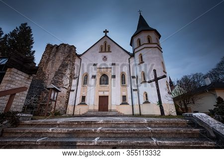 Church In Mosovce Village In Turiec Region, Slovakia.