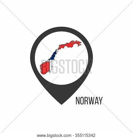 Map Pointers With Contry Norway. Norway Flag. Stock Vector Illustration Isolated On White Background