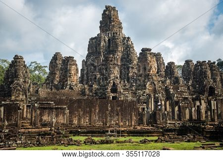 The Scenery Of Bayon Temple, Temple Of King Jayavarman Vii. It Is A Mountain Temple Built To Represe