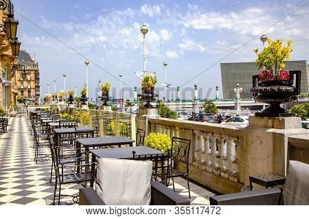 Spain, San Sebastian, Donostia, May, 12, 2017 - Gran Hotel Maria Cristina`s Summer Open Veranda Over