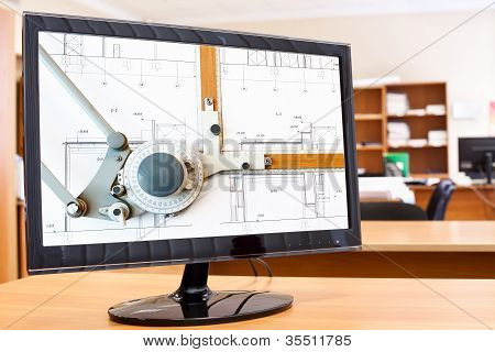 Computer Monitor With Blueprints And Drawing Board Picture In Screen On Desktop