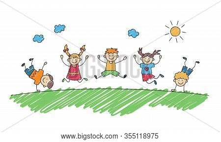 Happy Children Jump Together In Summer Park. Funny Jumping Kids. Children Drawing Painted With Marke