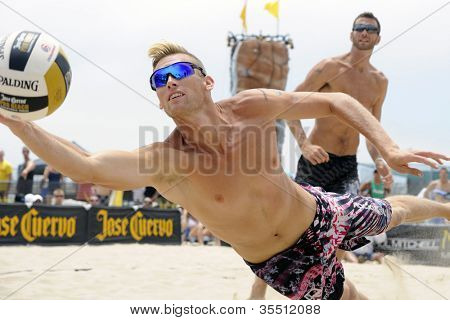 HERMOSA BEACH, CA - JULY 21: Casey Patterson competes in the Jose Cuervo Pro Beach Volleyball tournament in Hermosa Beach, CA on July 21, 2012.