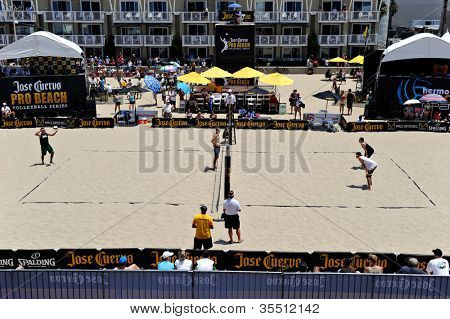 HERMOSA BEACH, CA - JULY 21: -- compete in the Jose Cuervo Pro Beach Volleyball tournament in Hermosa Beach, CA on July 21, 2012.