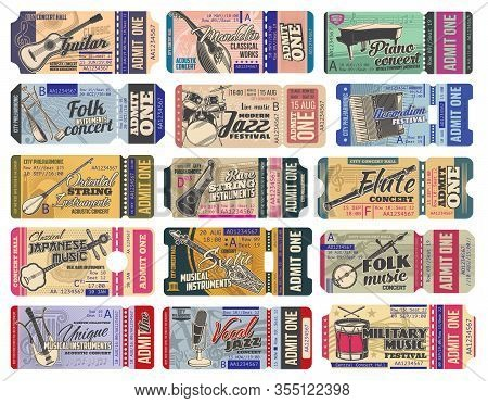 Music Concert Ticket With Vector Musical Instruments, Microphones And Notes. Music Event, Party, Fes