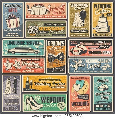 Wedding And Marriage Ceremony Vintage Vector Posters. Bride And Groom, Rings, Gifts And Bouquets, Lo