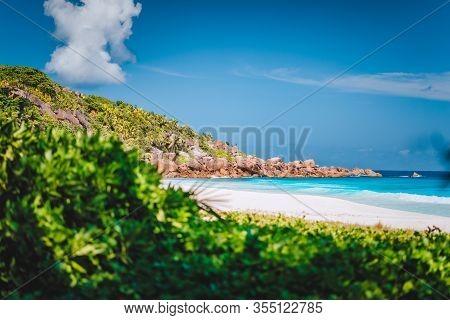Petite Anse Sandy Tropical Paradise Beach On La Digue Island, Seychelles. Holiday Vacation Travel Ex