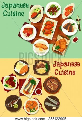 Japanese Cuisine Food. Fish And Meat Vector Dishes With Vegetables, Curry, Ginger, Soy And Miso Sauc