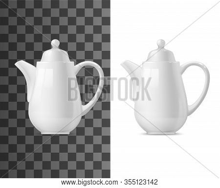 Tea Or Coffee Pot Vector Mockup. White Ceramic Or Porcelain Teapot 3d Template, Kitchen Utensil Or T
