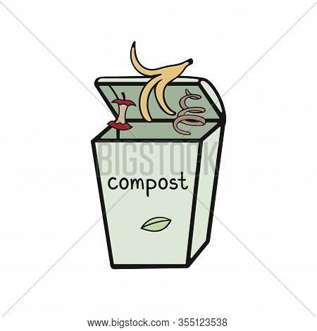 Vector Illustration Of Zero Waste Concept. Dumpster With Food Garbage, Compost, Rot.