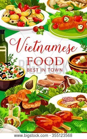 Vietnamese Cuisine Rice, Vegetable, Meat And Fish Dishes Vector Design. Soup Pho Bo With Beef, Noodl