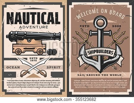 Nautical Anchor And Old Naval Cannon Vector Heraldic Poster. Sailing Ship Anchors, Marine Tridents,