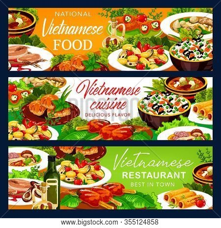 Vietnamese Cuisine Food Banners. Asian Restaurant Vector Vegetables With Rice, Baked Fish And Grille