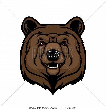 Grizzly Brown Bear Head, Wild Animal Vector Mascot. Angry Bear Predator Character With Open Mouth, T
